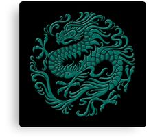 Traditional Teal Blue Chinese Dragon Circle Canvas Print