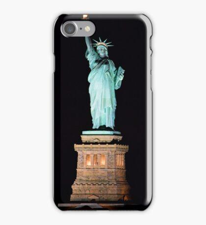 Lady Liberty at night iPhone Case/Skin