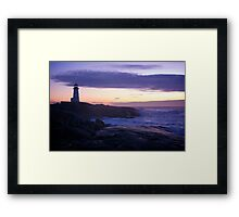 Peggy's Point lighthouse Sunset Nova Scotia Framed Print