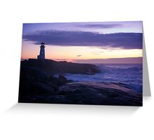 Peggy's Point lighthouse Sunset Nova Scotia Greeting Card