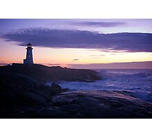 Peggy's Point lighthouse Sunset Nova Scotia Photographic Print
