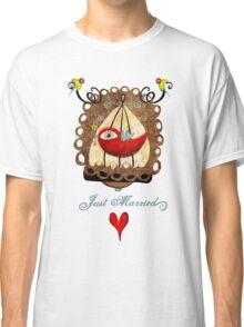 Just married key of universal declaration bird rights tee shirt Classic T-Shirt