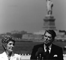 Reagan Speaking Before The Statue Of Liberty by warishellstore