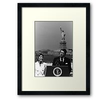 Reagan Speaking Before The Statue Of Liberty Framed Print