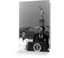 Reagan Speaking Before The Statue Of Liberty Greeting Card