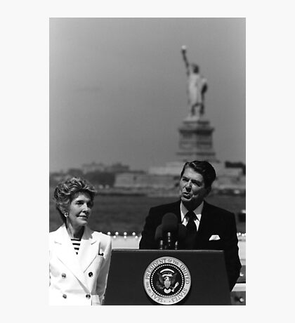Reagan Speaking Before The Statue Of Liberty Photographic Print