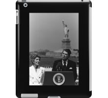 Reagan Speaking Before The Statue Of Liberty iPad Case/Skin