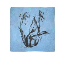 Flower Sketch on Mottled Blue Background Scarf