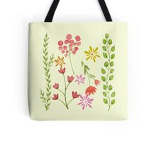 Watercolor Flowers and Foliage Tote Bag