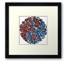 yin yang mushrooms (blue red version) Framed Print