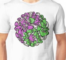 Yin Yang Mushrooms (pink-green version) Unisex T-Shirt