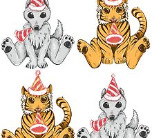 Party Hat Tigers and Wolves by SimplyKitt
