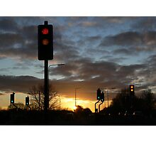 Sunset at the Traffic Lights Photographic Print