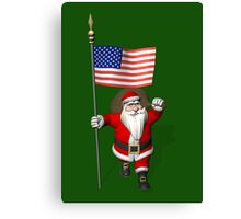 Santa Claus With Flag Of The USA Canvas Print
