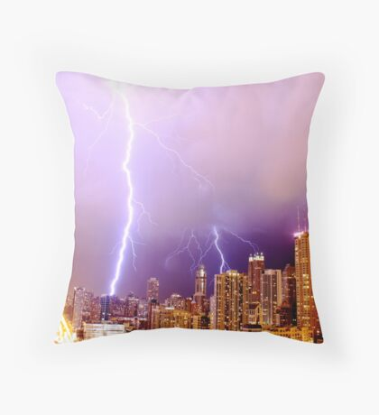 Lightning striking Chicago Throw Pillow