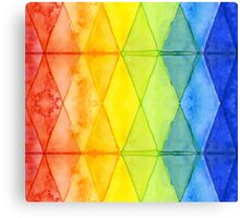 Watercolor Geometric Shapes Rainbow Pattern Triangles Canvas Print