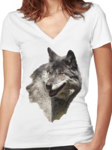 Grey Wolf Wild Animal Portrait Women's Fitted V-Neck T-Shirt