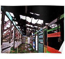 Old Barn Stalls...roof collapsed from snow, Salem, Ore. Poster