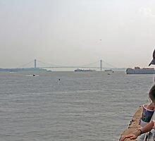 Manhattan Bridge/ Liberty Island View  by FoodMaster