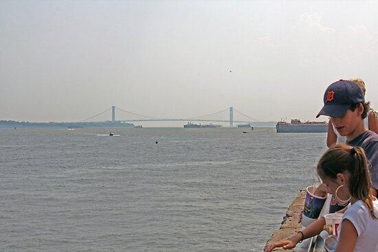 Manhattan Bridge/ Liberty Island View  by FoodMaster
