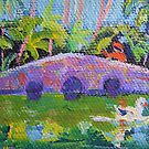 Miniature Art Tamborine Botanical Gardens Stone Bridge by Virginia McGowan