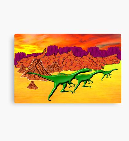 Theropods on the Run Canvas Print