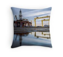 Harland and Wolf with oil rig Throw Pillow