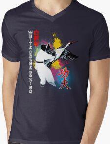 White Crane Kung Fu Mens V-Neck T-Shirt