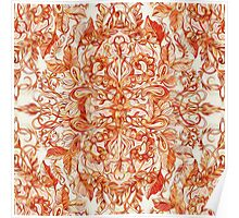 Art Nouveau Pattern in Pumpkin Spice Poster