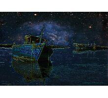 Boats Under Starry Night - Kuwait Photographic Print