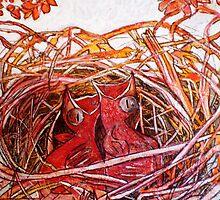 """Red Birds Waiting by Belinda """"BillyLee"""" NYE (Printmaker)"""
