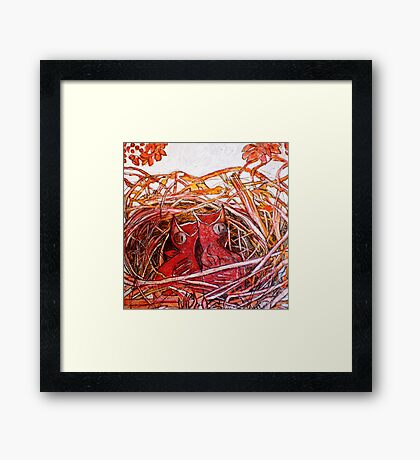 Red Birds Waiting Framed Print