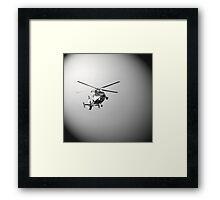 Helicopter in black Framed Print
