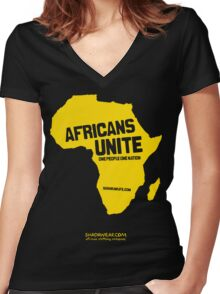 Africans unite Women's Fitted V-Neck T-Shirt