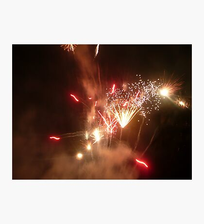 Red, White & Gold Sparkling Fireworks Explosion. Photographic Print