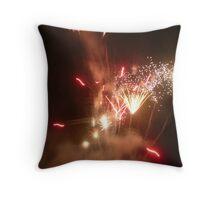 Red, White & Gold Sparkling Fireworks Explosion. Throw Pillow