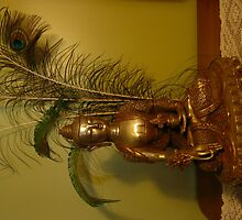 Buddha Statue with Peacock Feathers Behind. by Mywildscapepics