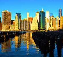 Bright and Sunny New York City Skyline - Impressions Of Manhattan by Georgia Mizuleva