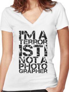 Terrorist Not A Photographer Women's Fitted V-Neck T-Shirt