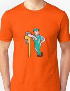 Plumber Leaning Monkey Wrench Isolated Cartoon T-Shirt