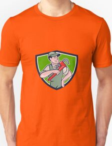 Plumber Pointing Monkey Wrench Shield Cartoon T-Shirt