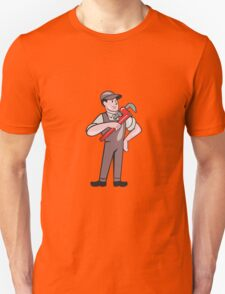 Plumber Pointing Monkey Wrench Standing Cartoon T-Shirt