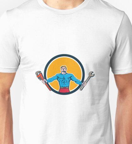 Superhero Handyman Spanner Wrench Circle Cartoon Unisex T-Shirt