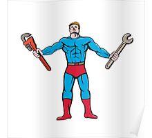 Superhero Handyman Spanner Wrench Cartoon Poster