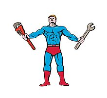 Superhero Handyman Spanner Wrench Cartoon Photographic Print