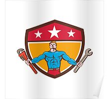 Superhero Handyman Spanner Wrench Shield Cartoon Poster