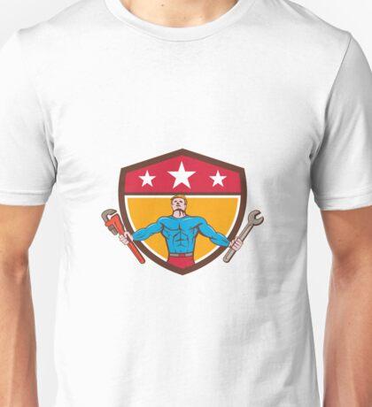 Superhero Handyman Spanner Wrench Shield Cartoon Unisex T-Shirt