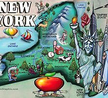 New York State Cartoon Map by Kevin Middleton