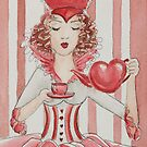 Queen's Tea Watercolor Painting by Jaymilina