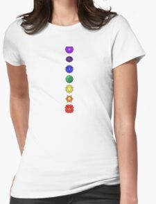 Seven vertical chakras Womens Fitted T-Shirt